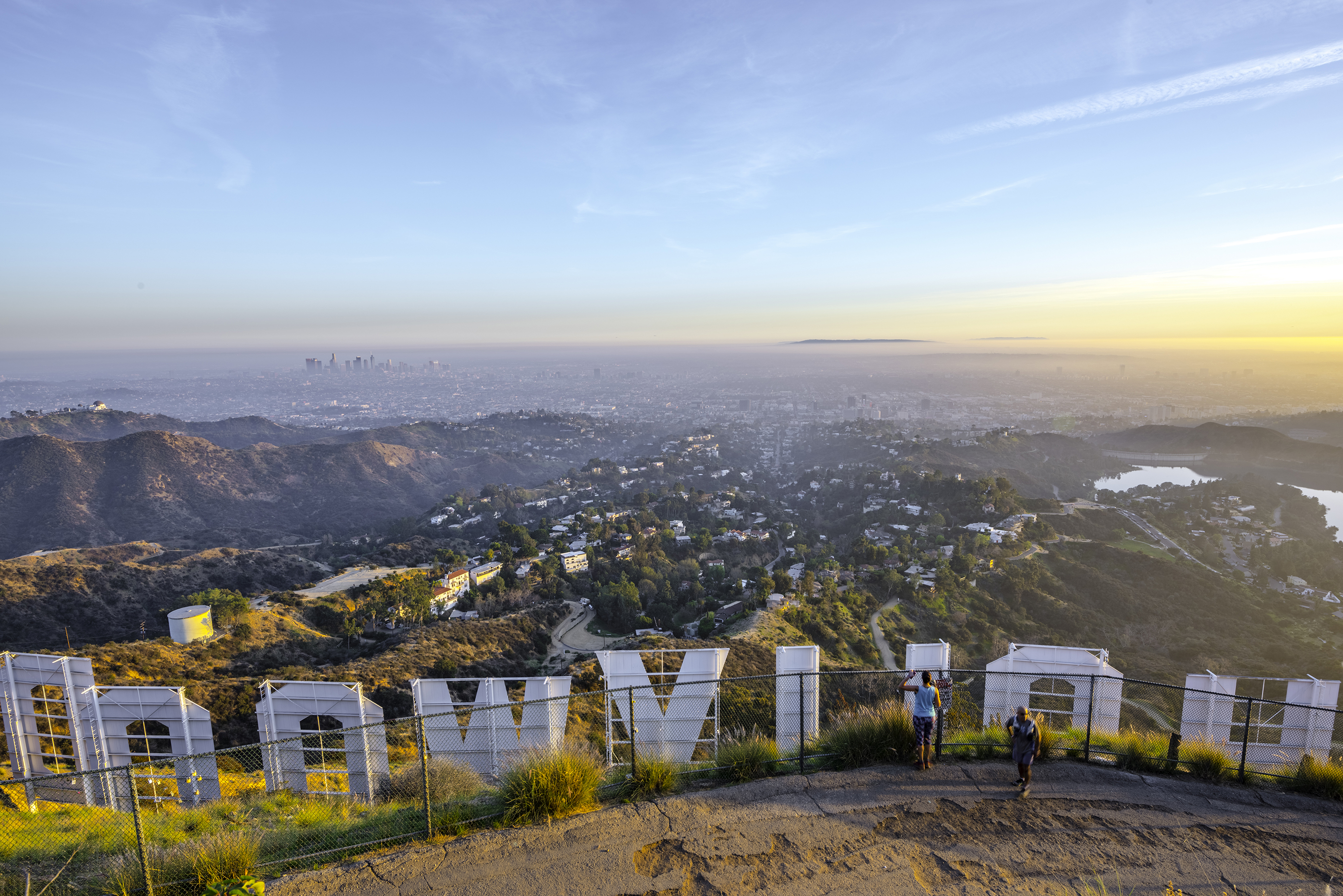 Hollywood Sign and Los Angeles looking from behind