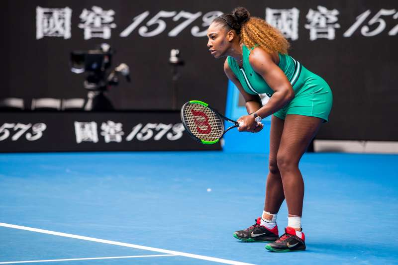 Serena Williams prepares to receive the ball during day two of the Australian Open on January 15, 2019, at Melbourne Park in Melbourne, Australia.