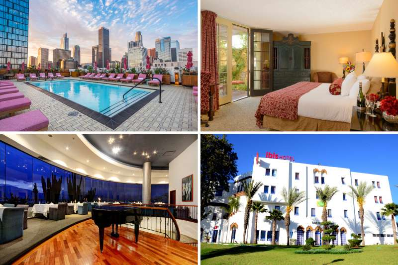 (clockwise from top left) Freehand LA; Hotel Encanto de las Cruces; Ibis Meknes; Hotel Dann Carlton