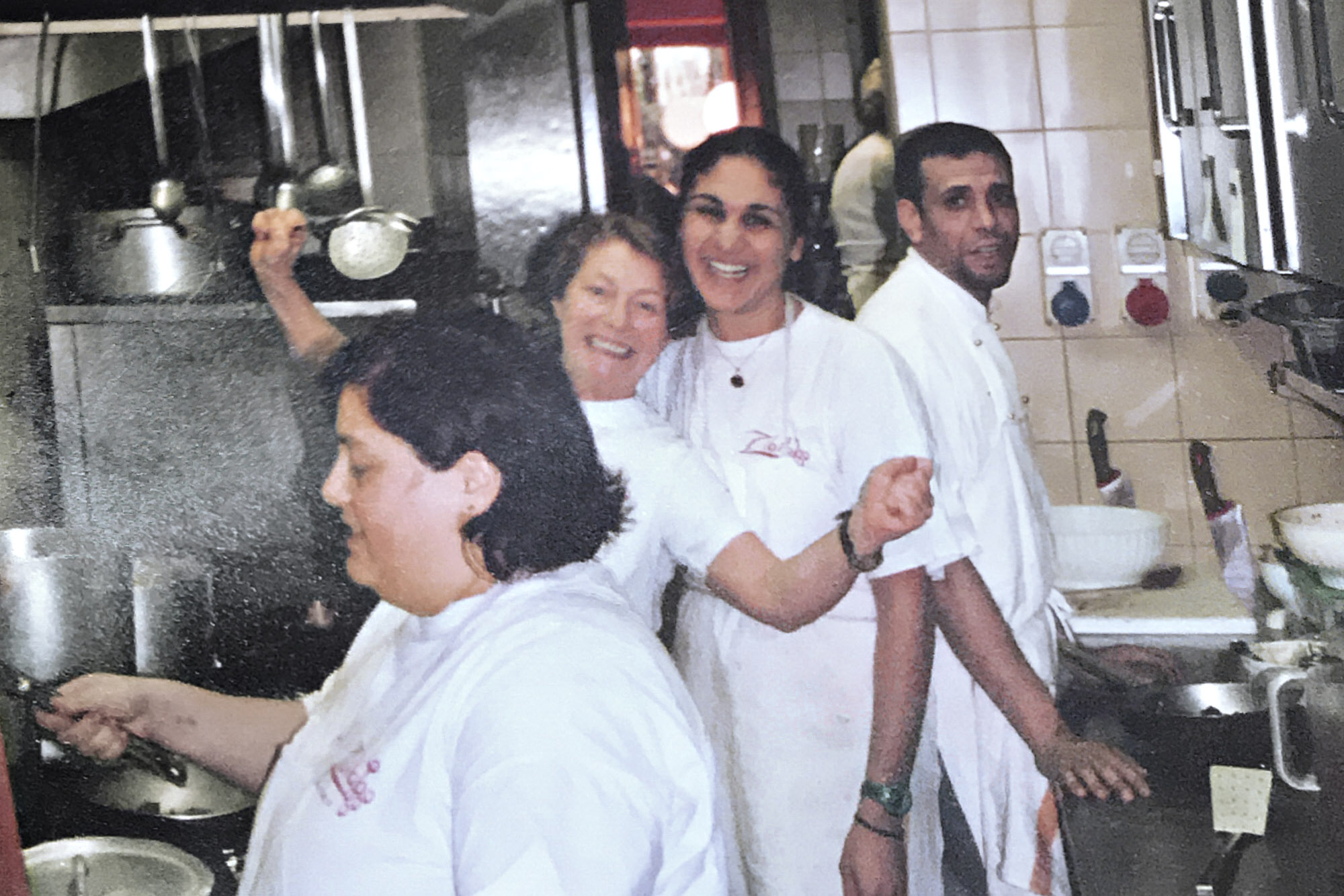 Nosrat in the kitchen at Trattoria Zibibbo in Florence, Italy, 2003.