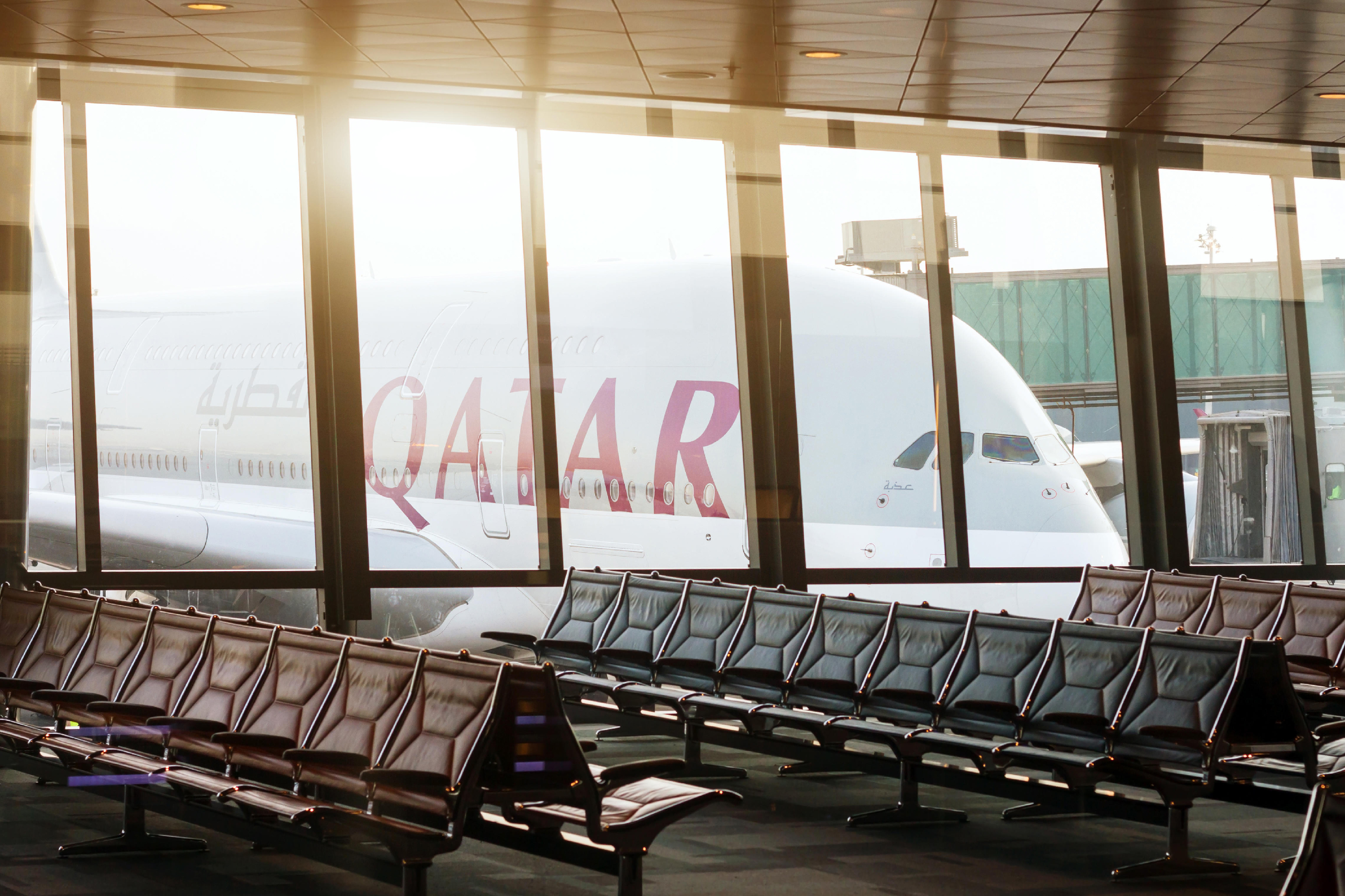 DOHA, QATAR - APRIL 25 2017: Airplane of Qatar airways in the international airport of Doha