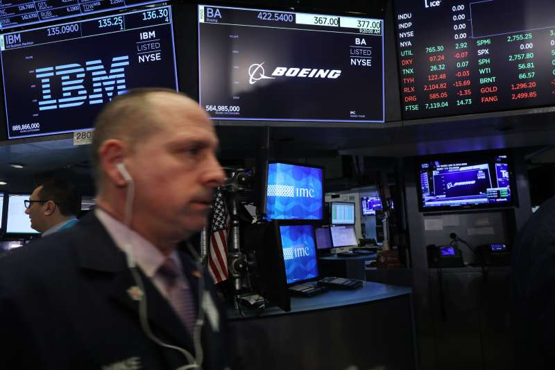 A Boeing stock sign is displayed on a screen on the floor of the New York Stock Exchange (NYSE) on March 11, 2019 in New York City.