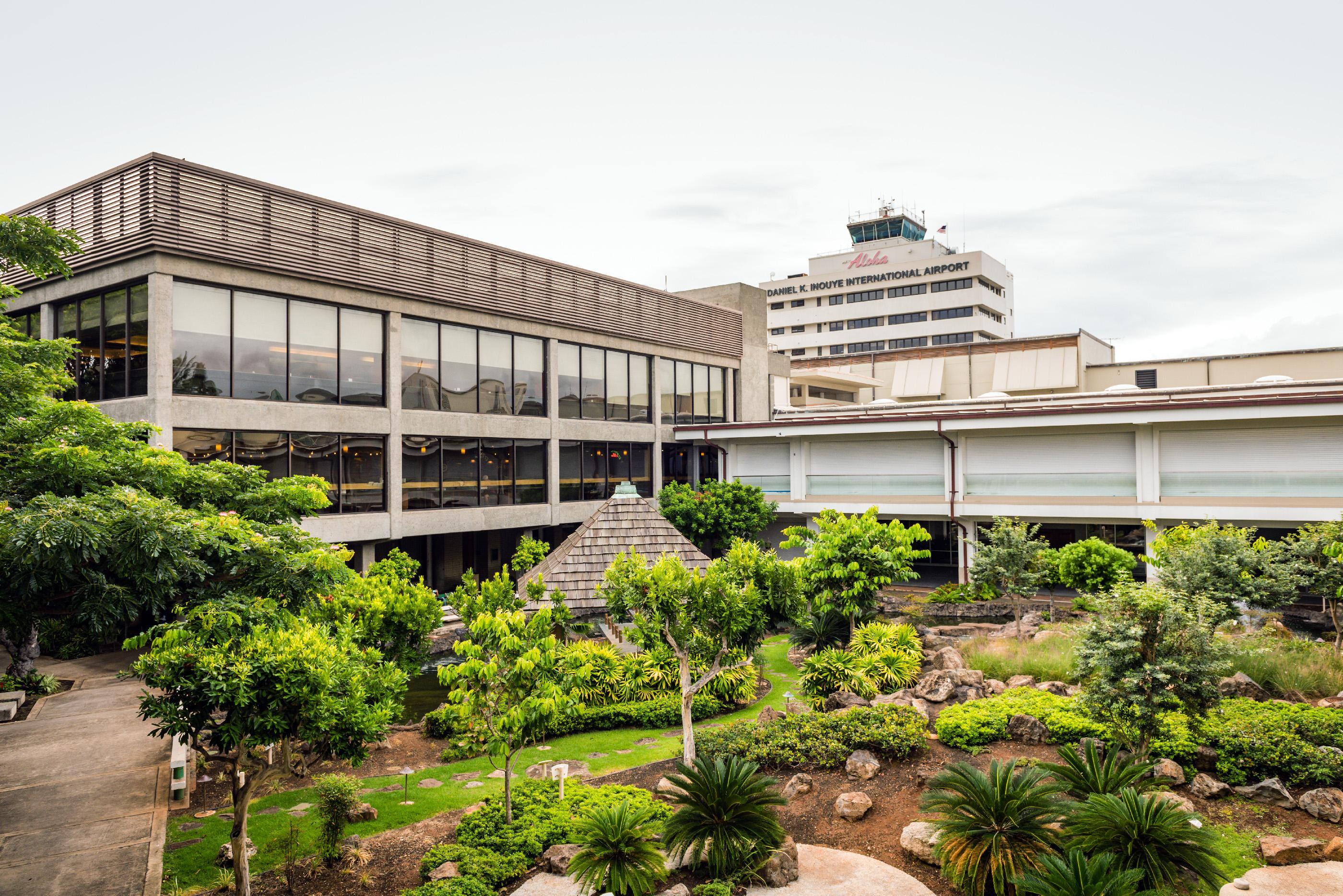 Cultural gardens at Daniel K. Inouye International Airport show Asian influence on Hawaiian culture, August 26, 2018.