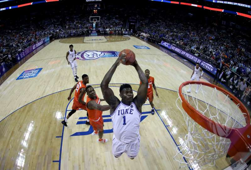 Zion Williamson of Duke dunks the ball in an ACC tournament game against Syracuse. Duke is the overall top seed in the 2019 March Madness basketball tournament.