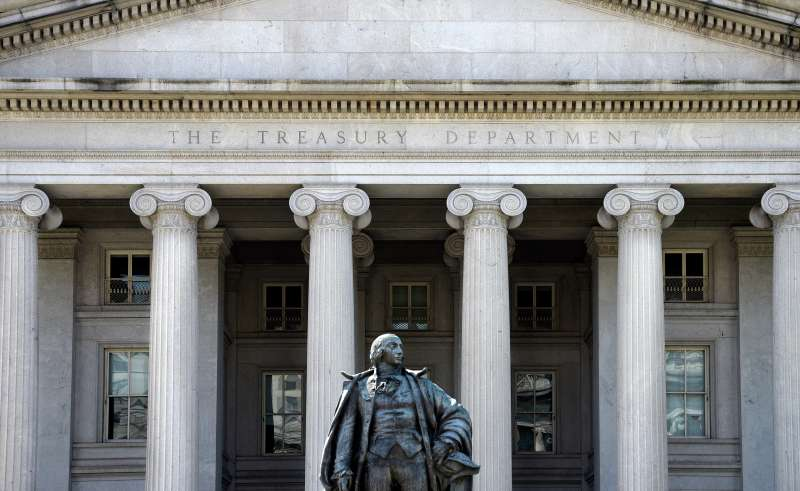 A statue of Albert Gallatin, a former U.S. Secretary of the Treasury, stands in front of The Treasury Building in Washington, D.C.