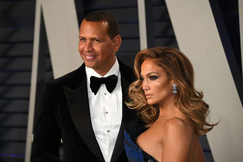 Jennifer Lopez and  Alexander Rodriguez attend 2019 Vanity Fair Oscar Party on February 24, 2019 in Beverly Hills, California.