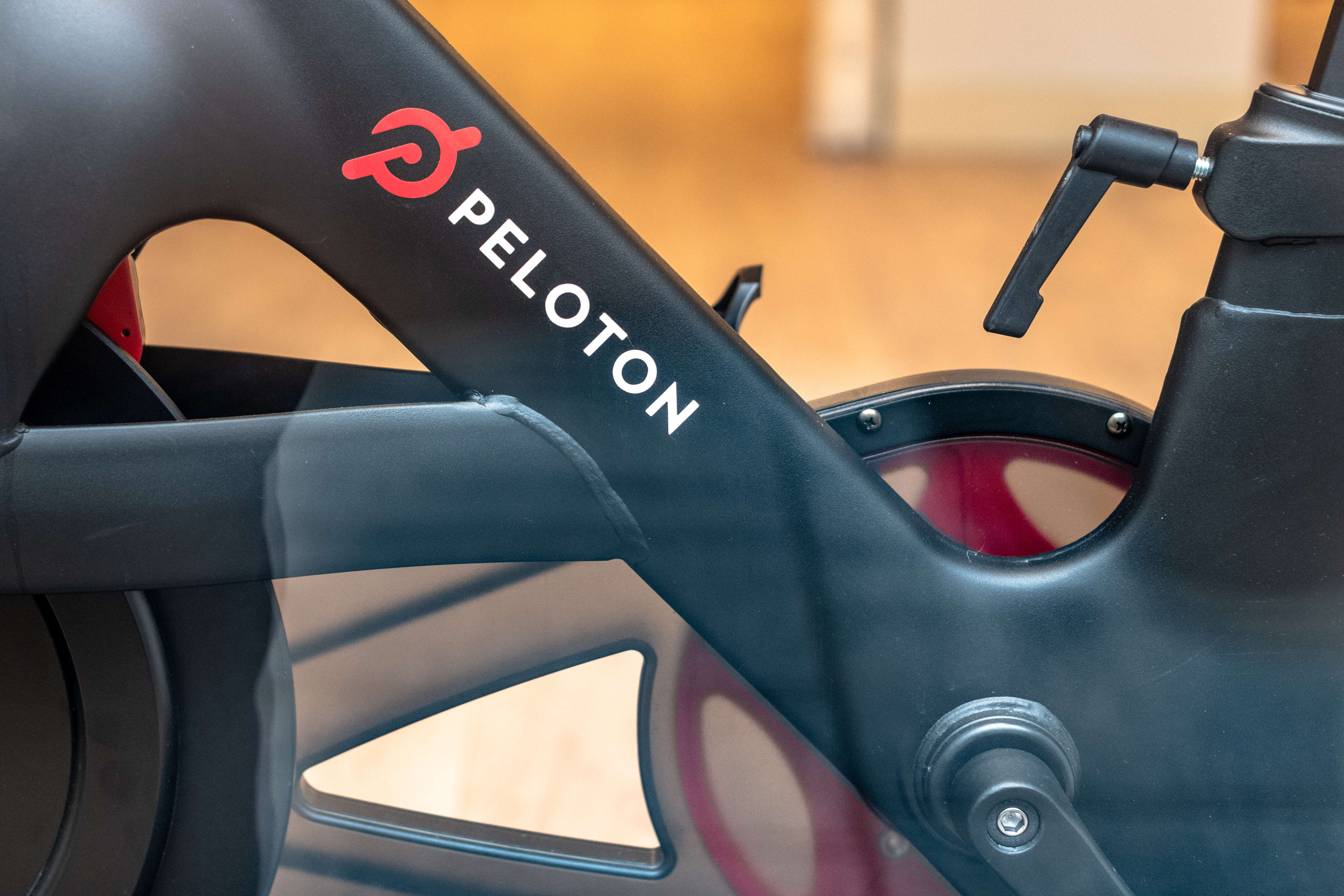 Part of a 'Peloton' gym bicycle which is in exhibit on a