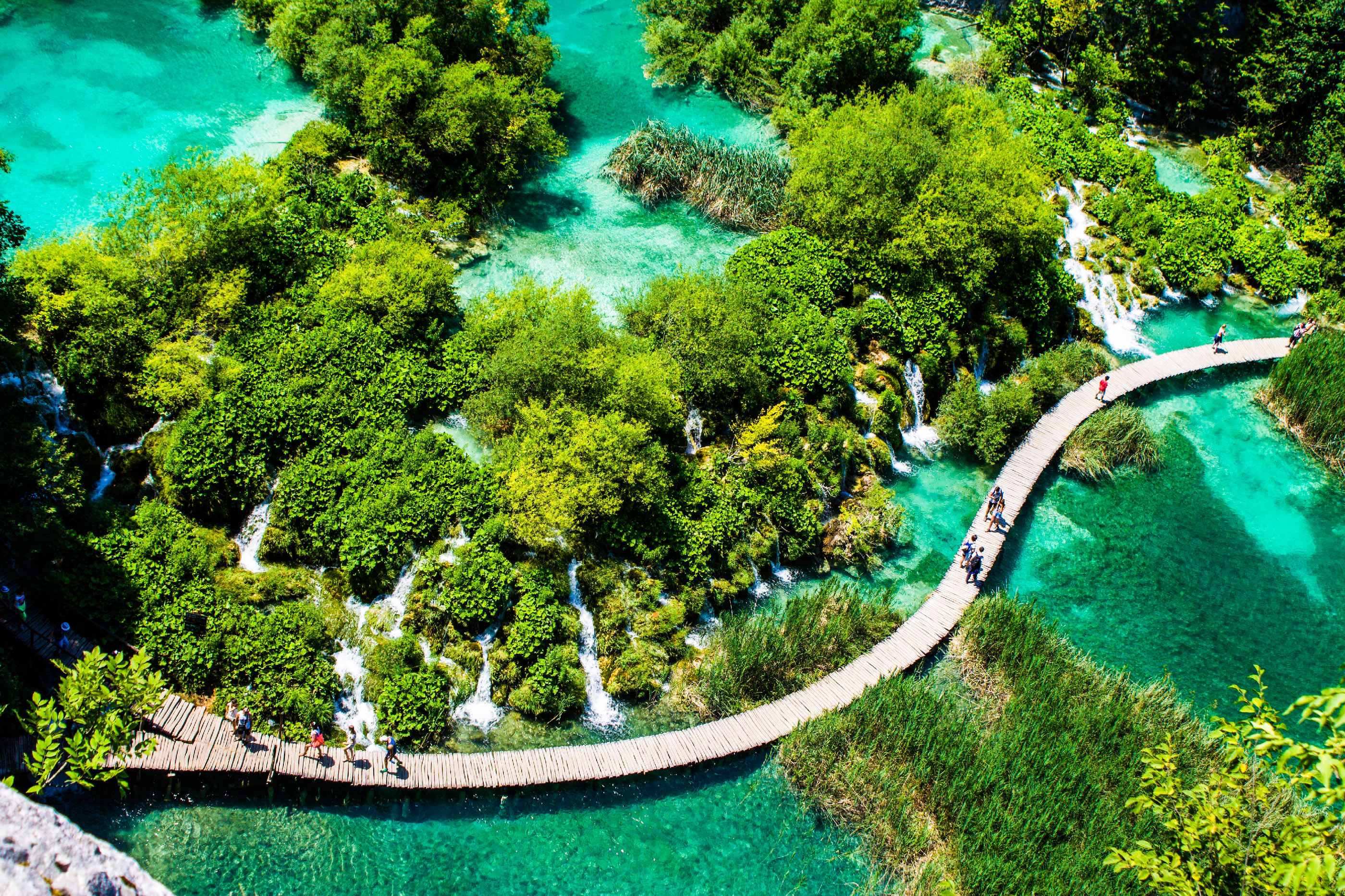 View of boardwalk over lake at Plitvice Lakes National Park