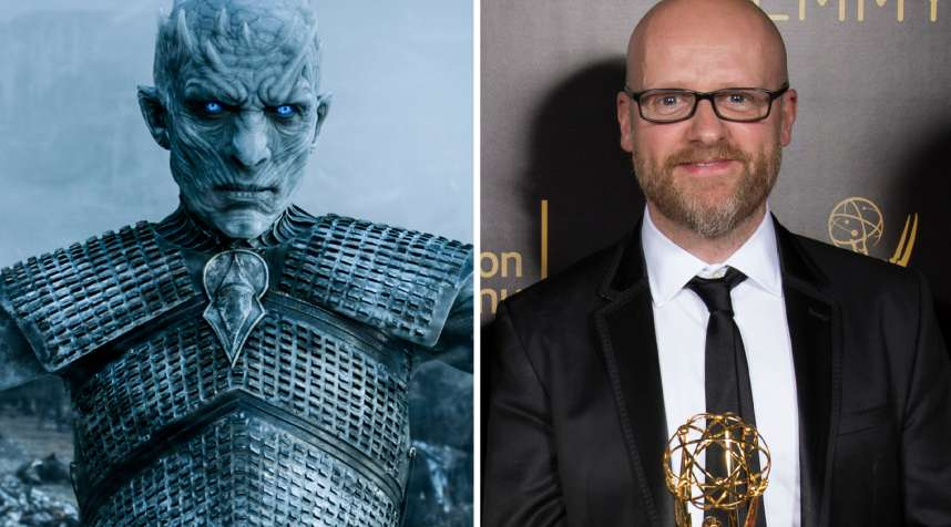 (left) The Night King from Game of Thrones; (right) Barrie Gower, one of the winners of the award for outstanding prosthetic makeup for a series, limited series, movie or a special for Game of Thrones during night one of the Television Academy's 2016 Creative Arts Emmy Awards at the Microsoft Theater on in Los Angeles.