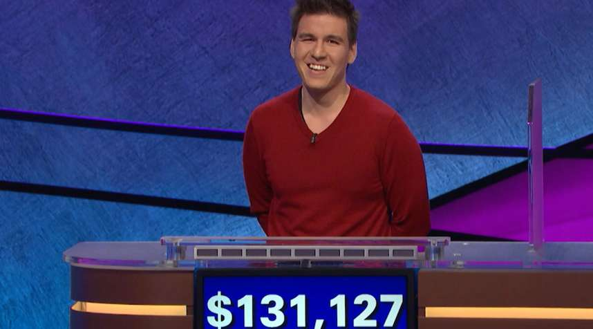 James Holzhauer wins $131,127 on Jeopardy on April 17, 2019.