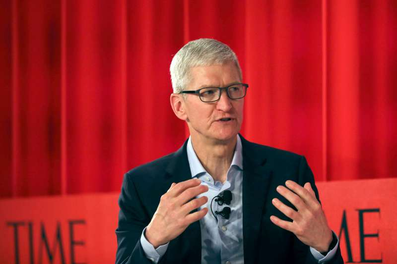 Apple CEO Tim Cook speaks with former TIME managing editor Nancy Gibbs at the TIME 100 Summit on April 23, 2019 in New York City. The day-long TIME 100 Summit showcases the annual TIME 100 list of the most influential people in the world.