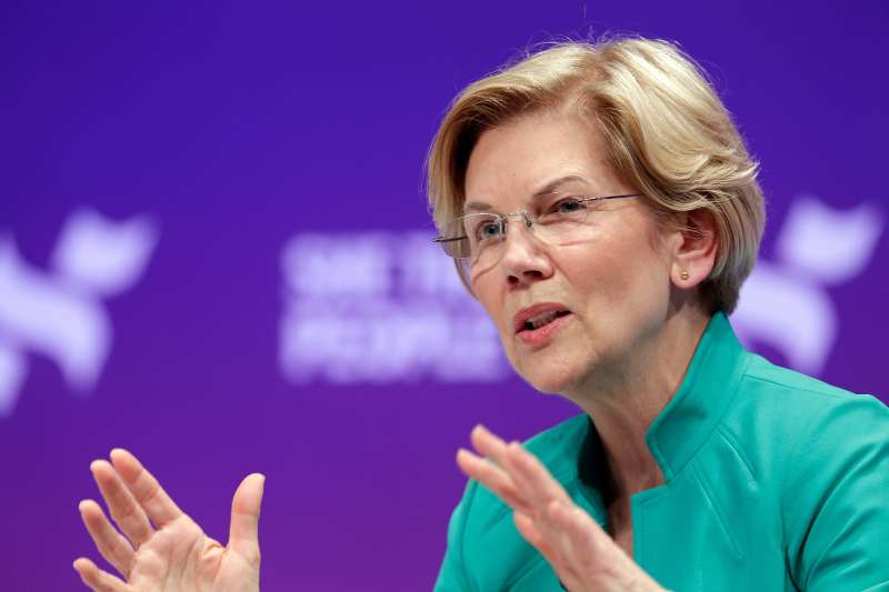 Democratic presidential candidate Sen. Elizabeth Warren, D-Mass., answers questions during a presidential forum held by She The People on the Texas State University campus, in Housto, April 24, 2019.