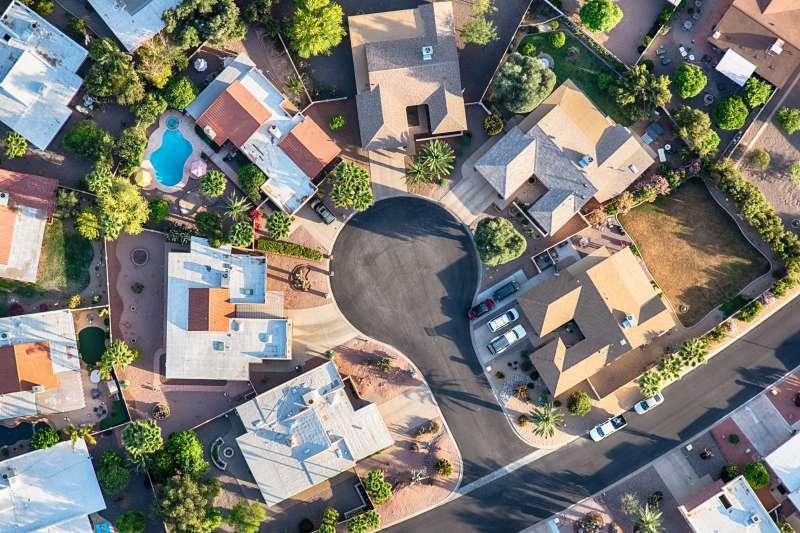 A cul-de-sac in the Scottsdale area of Arizona