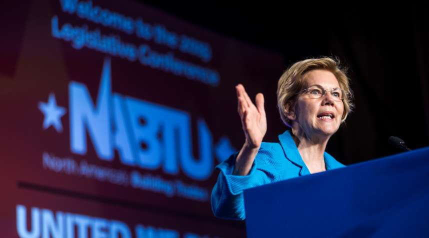WASHINGTON, DC - APRIL 10: Sen. Elizabeth Warren (D-MA) speaks during the North American Building Trades Unions Conference