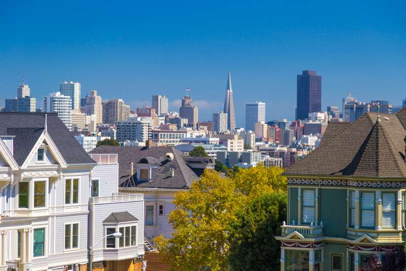 The Painted Ladies of San Francisco Alamo Square Victorian houses in San Francisco, California