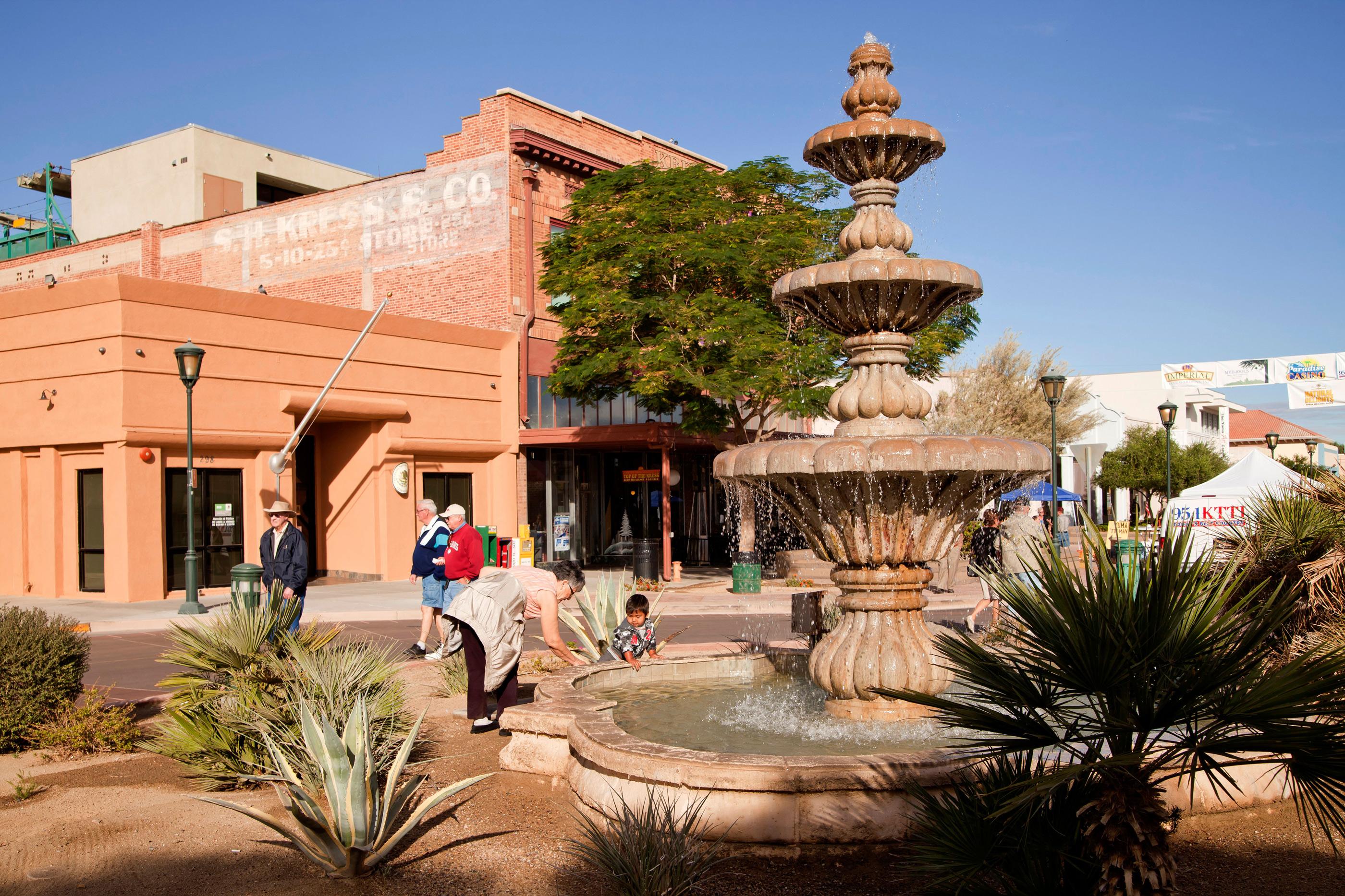 fountain at downtown Yuma, Arizona
