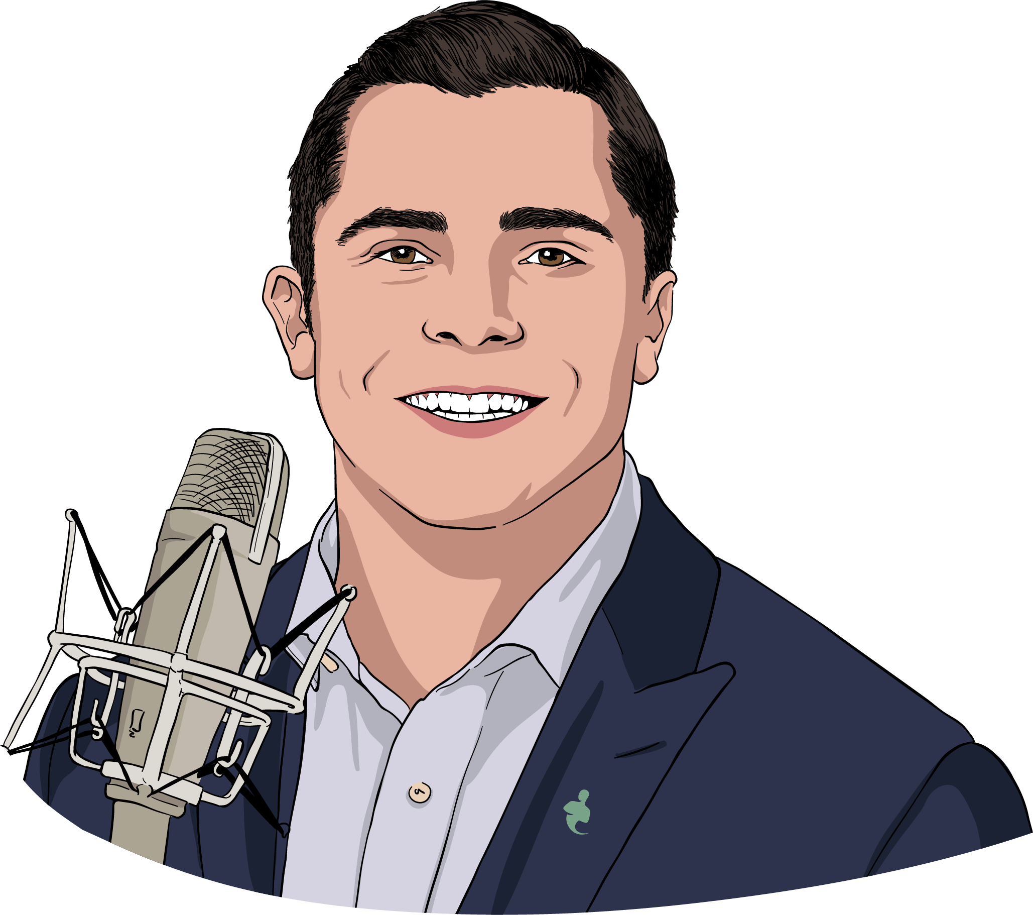 Casey Weade portrait with microphone