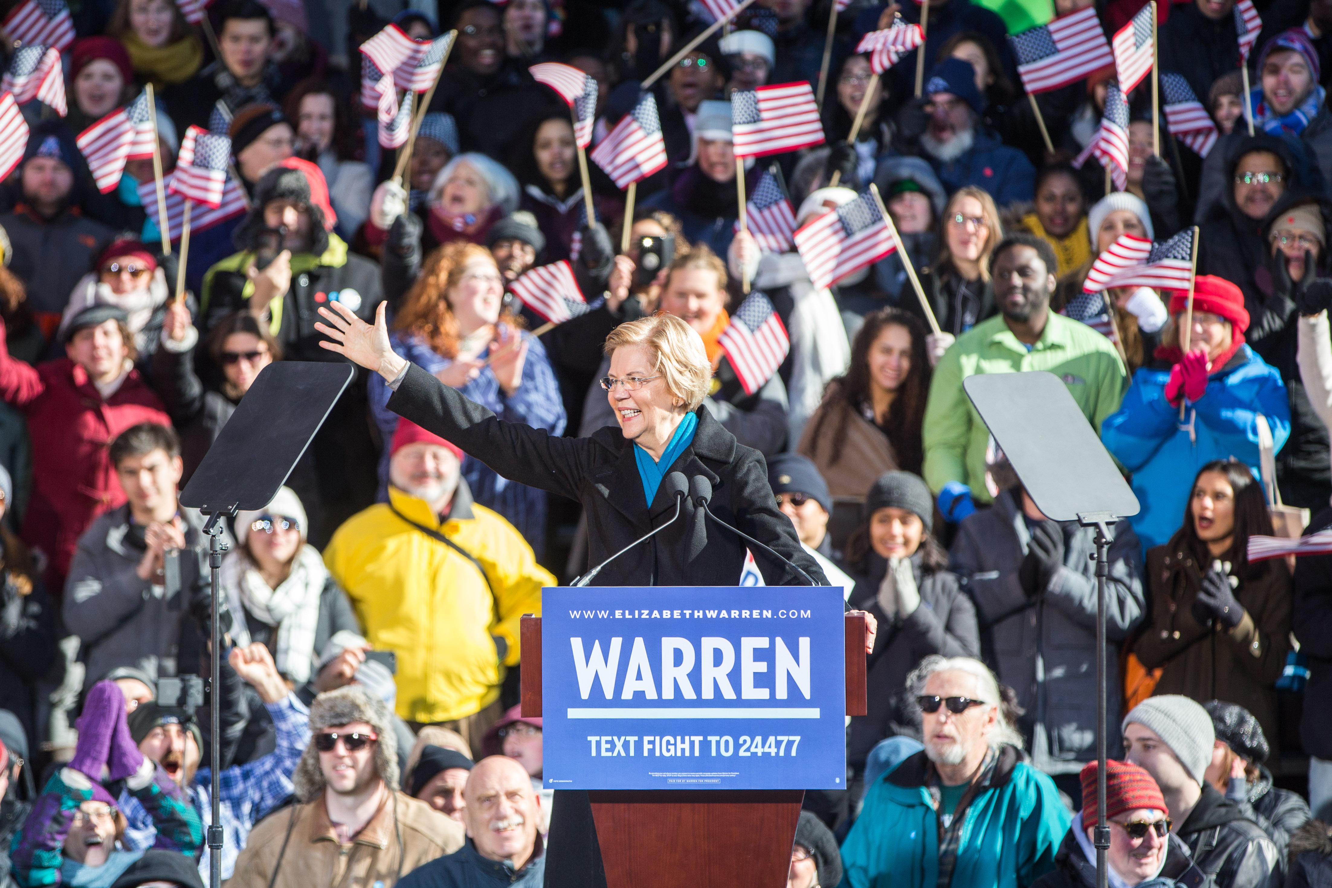 Sen. Elizabeth Warren (D-MA) Announces Presidential Bid In Lawrence, Massachusetts
