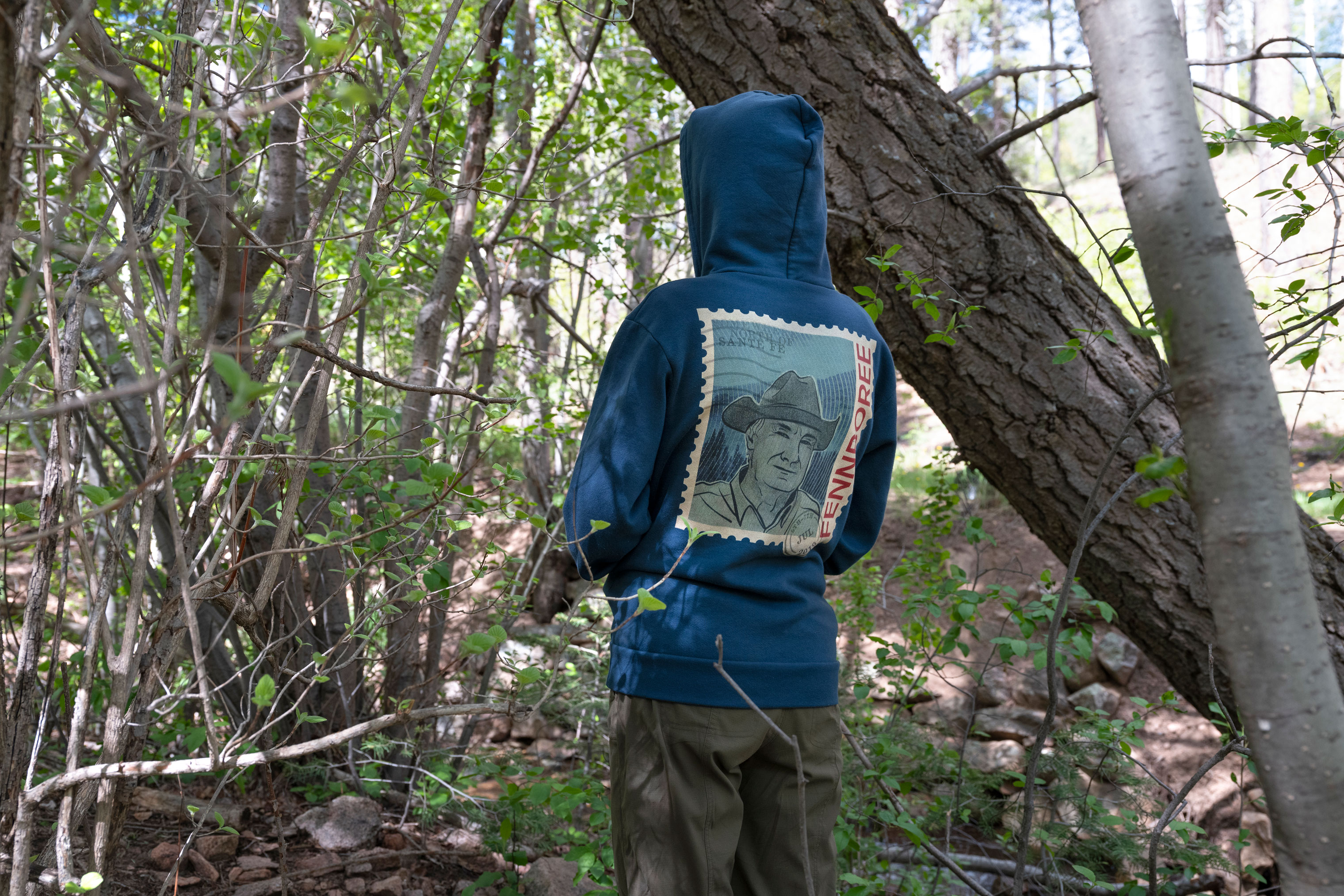 Sacha Johnston wearing her Fennboree sweatshirt in Hyde Park in the Santa Fe National Forest, May 28, 2019.