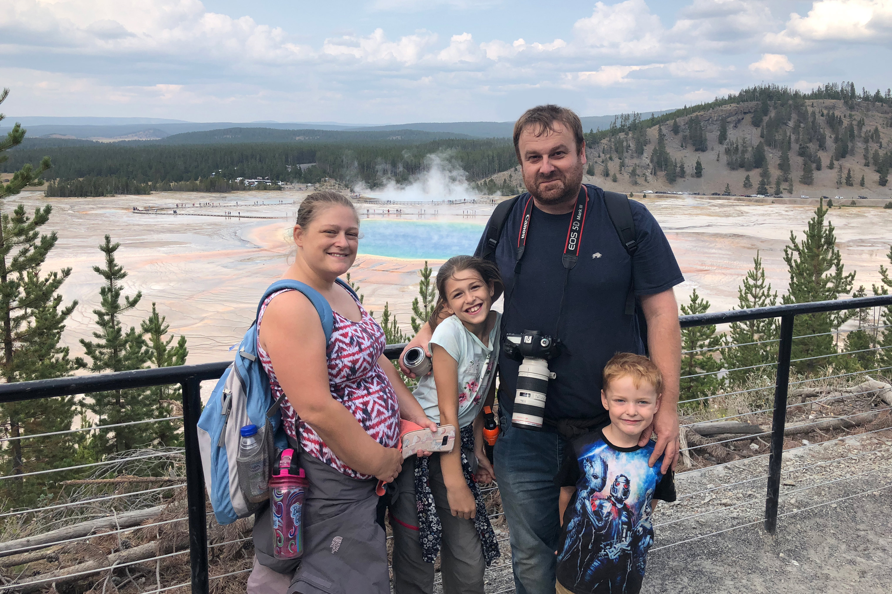 Forrest Fenn treasure searcher Jono Jones and his family at Yellowstone National Park.