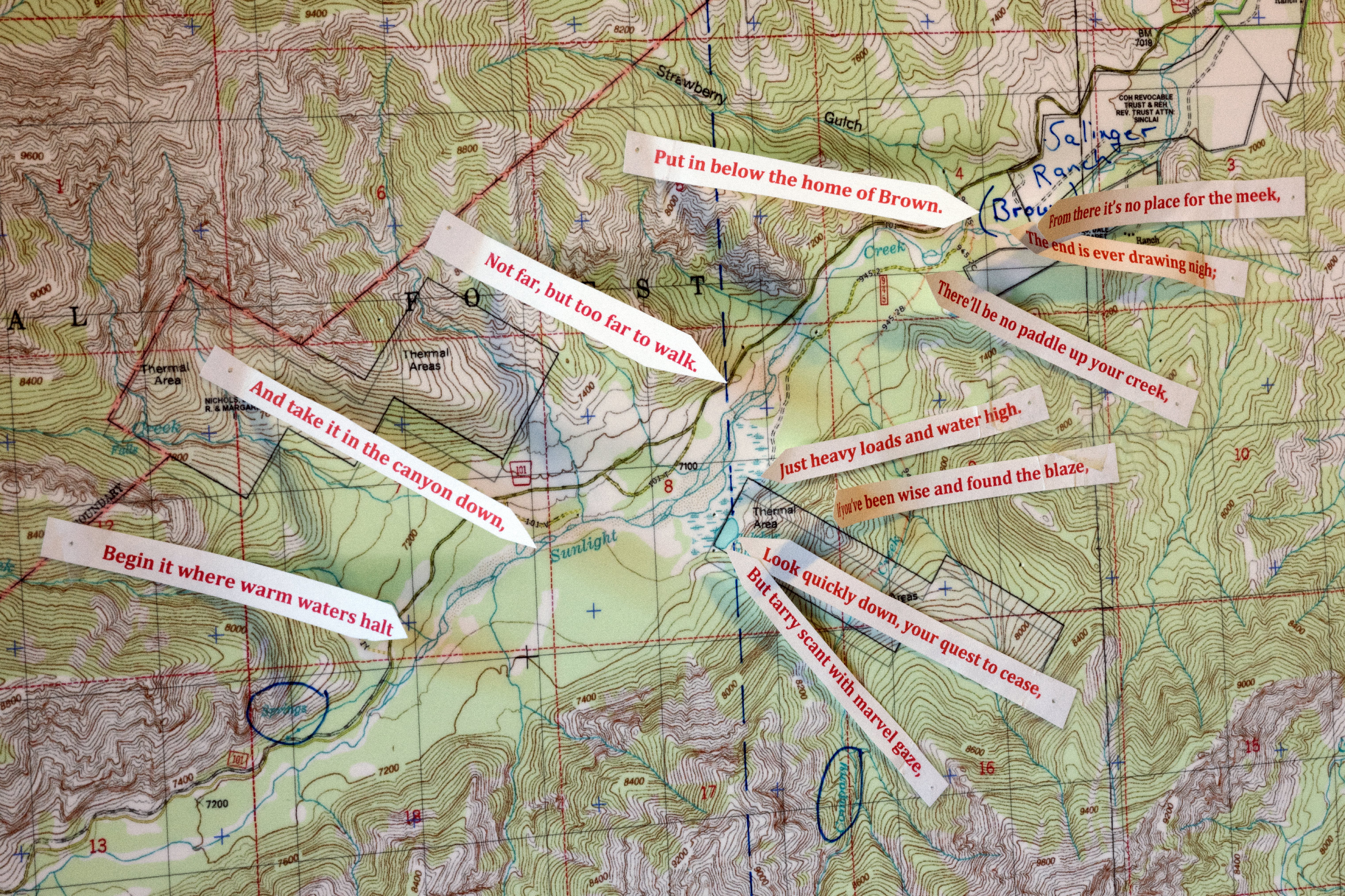 Map of Cynthia Meachum's search area in Wyoming marked with clues from Forrest Fenn's poem in the  war room  of her home in Rio Rancho, NM, May 29, 2019.