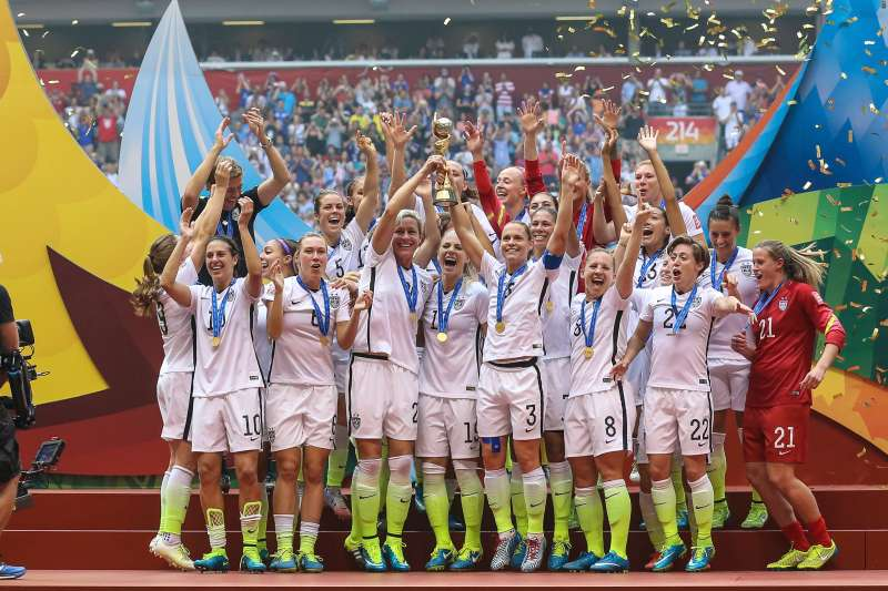 Team USA celebrates their victory during the FIFA Women's World Cup 2015 Final in Canada.