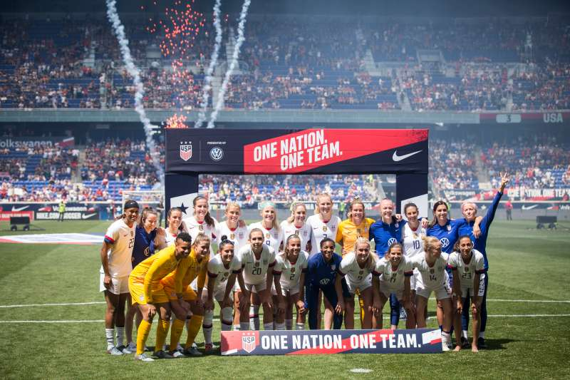 The United States Women's National Team that is heading to France for the 2019 World Cup, just after a friendly match against Mexico on May 26 2019.