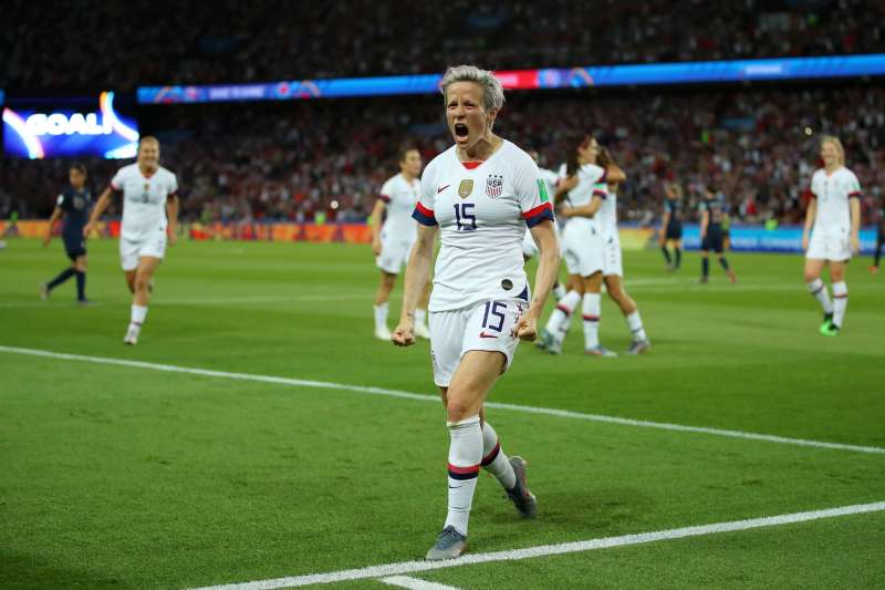 Megan Rapinoe of the USA celebrates after scoring her team's second goal during the 2019 FIFA Women's World Cup match against France on June 28, 2019 in Paris.