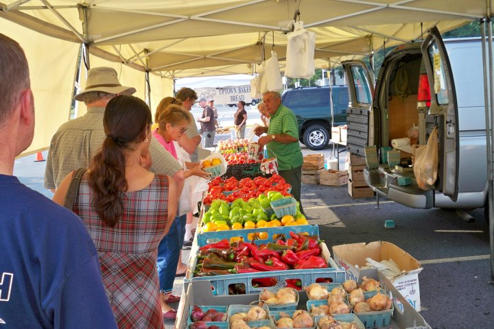 Crowd at a farmer's market in Bowie, Maryland