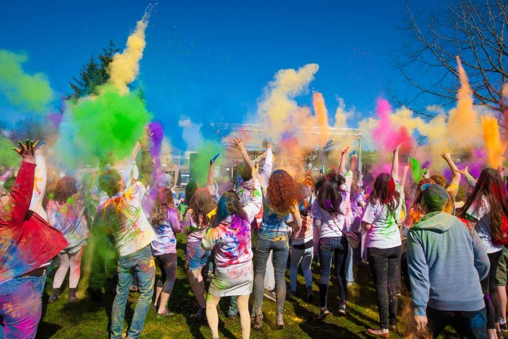Holi celebration in Redmond, Washington
