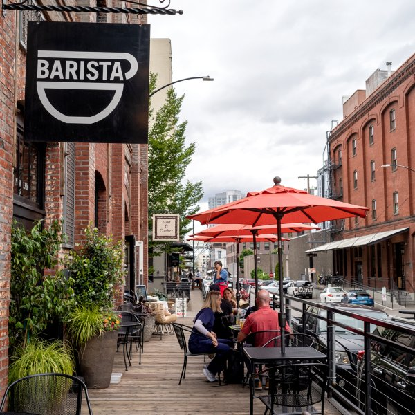 coffee shop sign that says 'Barista' in the neighborhood of Pearl in Portland, Oregon