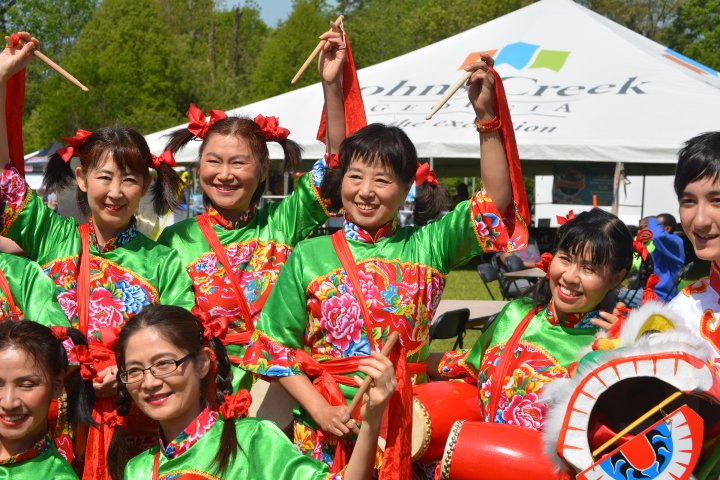 Children performing in Chinese New Year celebration in Johns Creek, Georgia