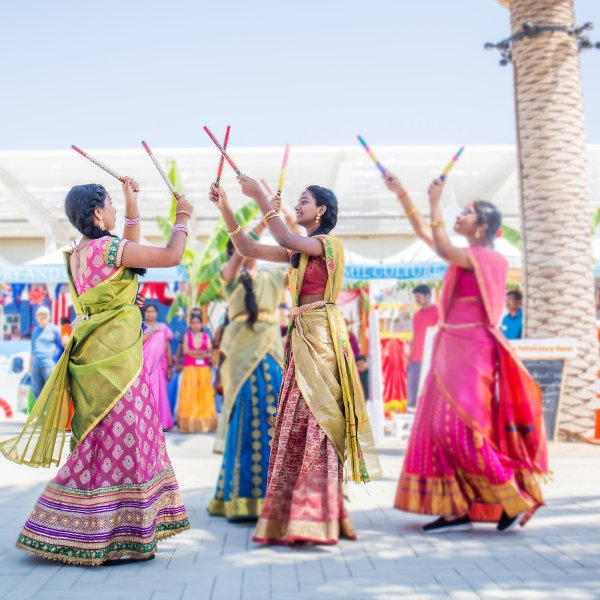 south asian women perform dance in Irvine, California