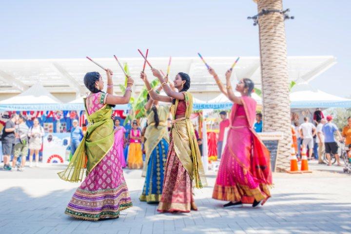 south asian women perform dance in Irvine, California