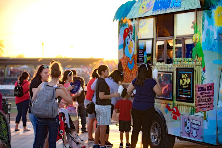 Group of people outside taco truck in Goodyear, Arizona