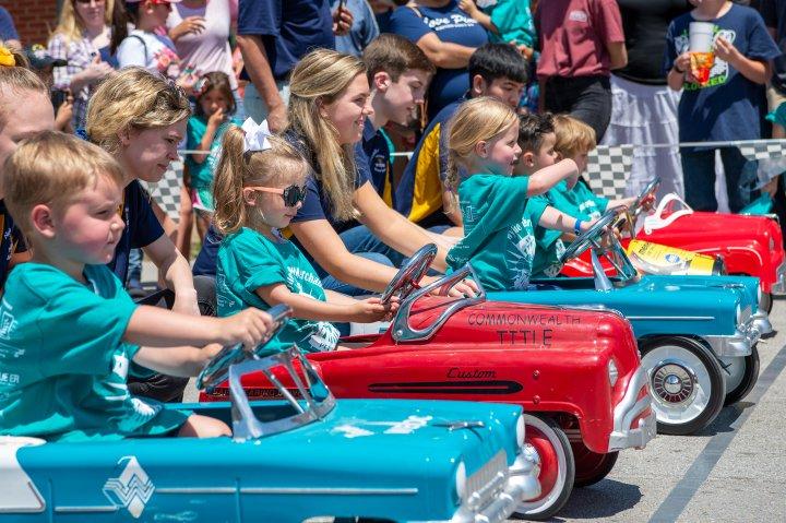 Children in miniature car race in Wylie, Texas