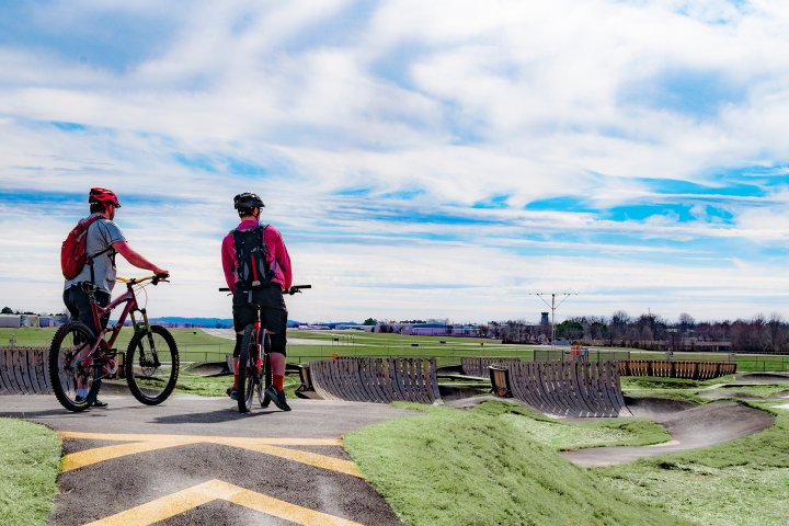 Two bikers on BMX track in Springdale, Arkansas