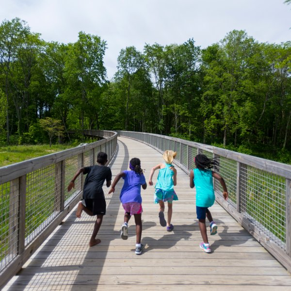 children running on a bridge in Fishers, Indiana