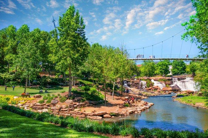 Greenery and footbridge in Greenville, South Carolina