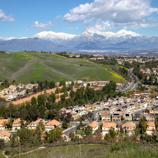 suburban development in chino hills, california