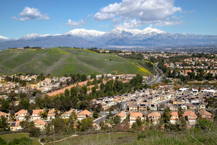 suburban development in chino hills, california