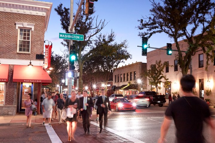 crosswalk in downtown Naperville, Illinois during the evening