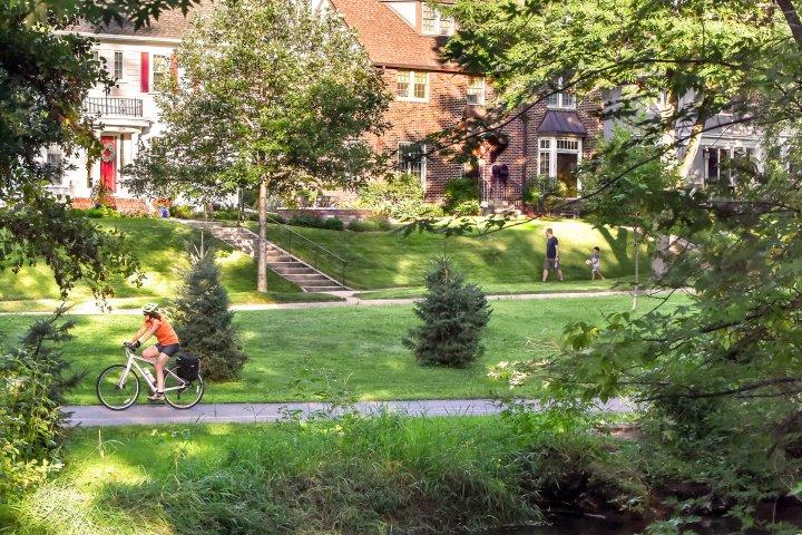 Bike paths in a park in Lynnhurst, Minneapolis, Minnesota