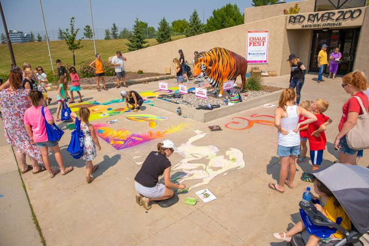 Children playing with sidewalk chalk in Fargo, North Dakota