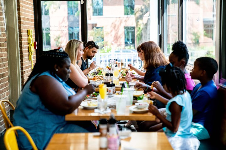 Families at lunch in Summerville, South Carolina
