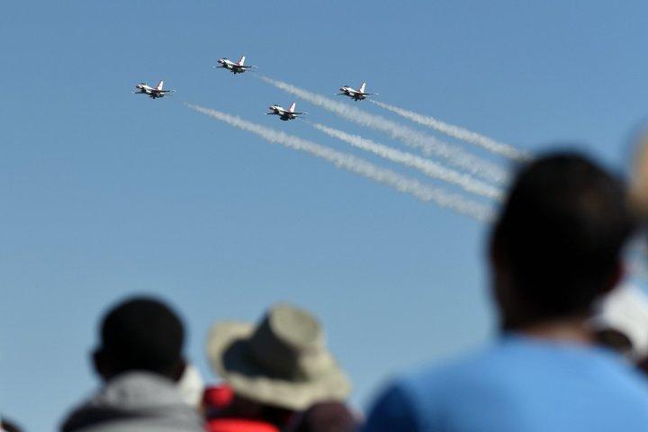 Crowd watching air force sky performance in Warner Robins, Georgia