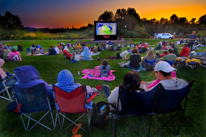 community watching a movie at an outdoor theater in Salem, Oregon