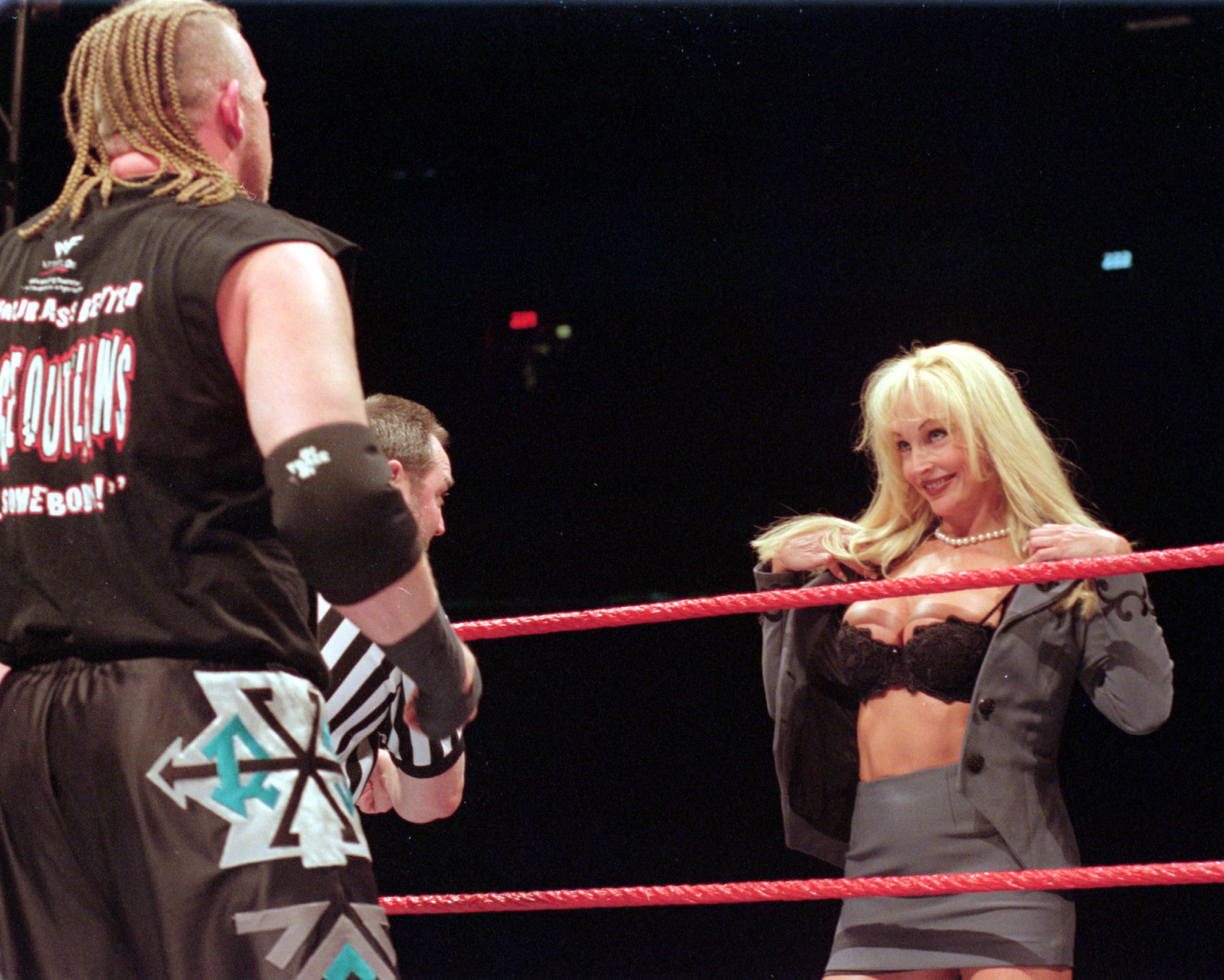Debora,  a WWE diva, performs at the Skydome in Toronto on April 23, 1999