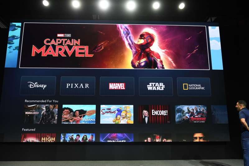 The interface of Disney+ streaming service is displayed on AppleTV at the D23 Expo, billed as the  largest Disney fan event in the world,  on August 23, 2019 at the Anaheim Convention Center in California.