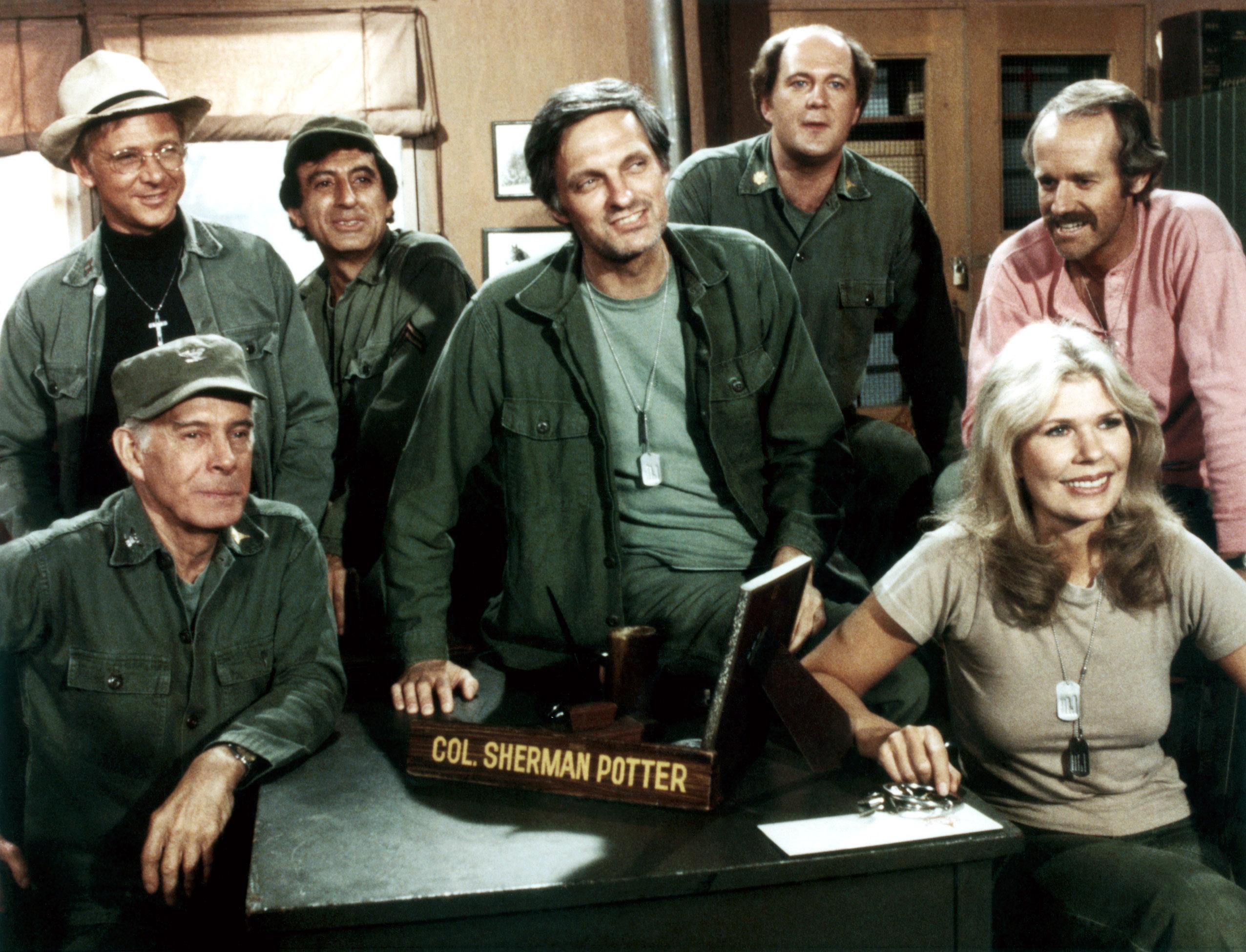 M*A*S*H (aka MASH), from left: Harry Morgan, William Christopher, Jamie Farr, Alan Alda, David Ogden